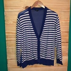 Torrid Blue White Striped Sheer Back Cardigan 2X